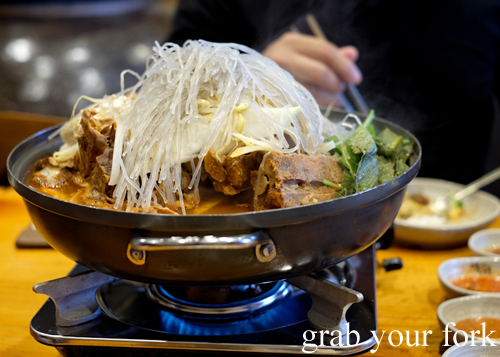 Large-sized spicy pork rib with potato hotpot at Myeong Dong Korean Restaurant in North Strathfield