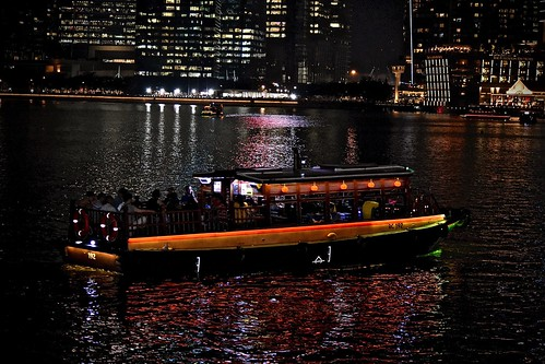 Singapore at Night:  Boat Ride in Marina Reservoir