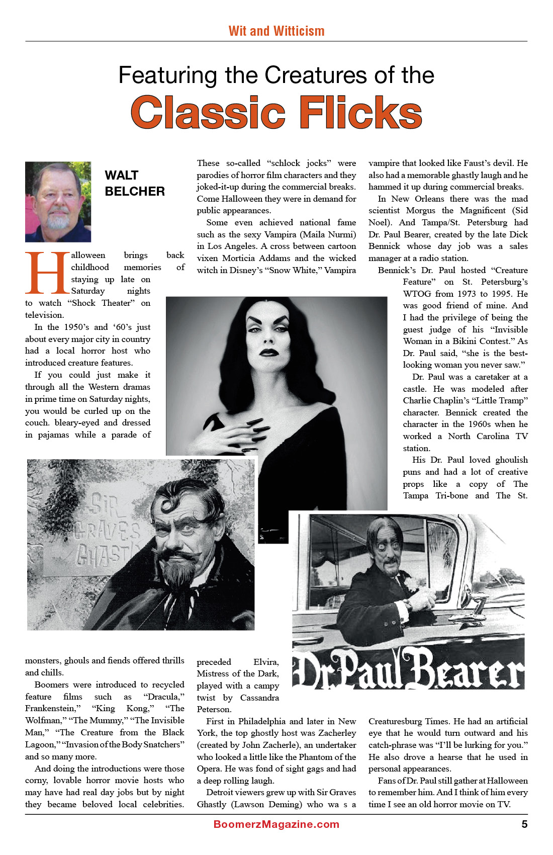 2018 October Boomerz Magazine Page 5 Walt Belcher on Dr Paul Bearer from Creature Feature tv show