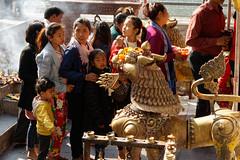 Hindu worshippers near entrance to Tal Barahi Temple, Pokhara