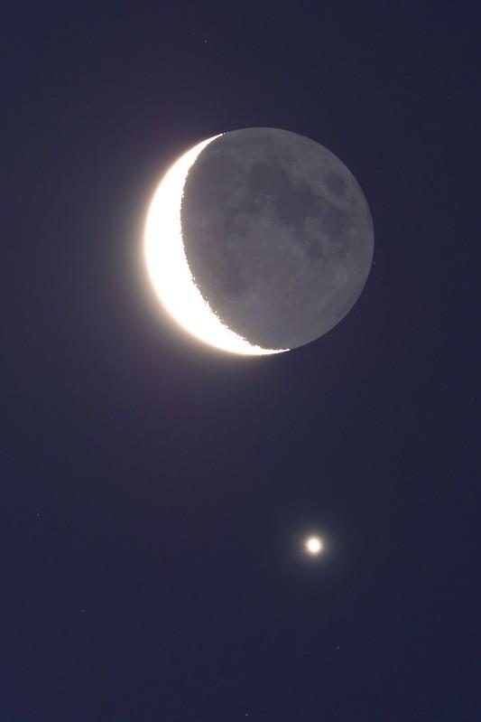 月と金星の接近 (2019/1/2 06:10)