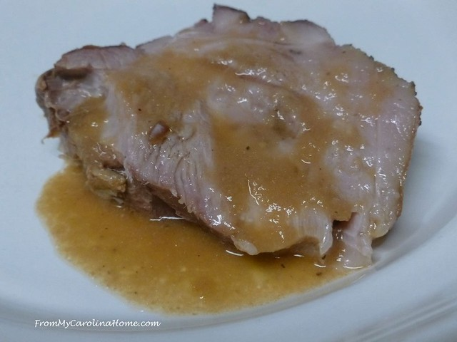 Pork Roast with Garlic Onion Gravy at FromMyCarolinaHome.com