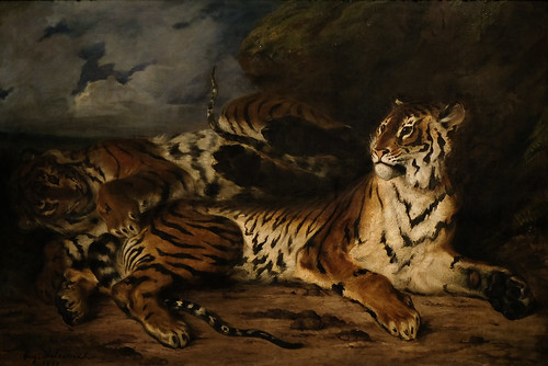 Eugène Delacroix, A Young Tiger Playing with its Mother, 1830-31 10/2/18 #metmuseum #artmuseum