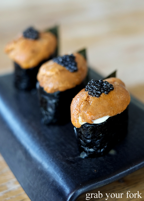 Sea urchin roe and caviar Italian gunkan at LuMi restaurant in Pyrmont Sydney