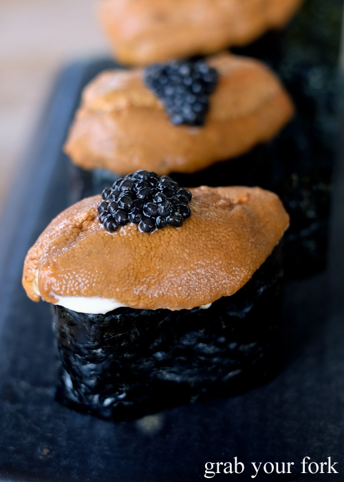 Italian gunkan with sea urchin roe and caviar at LuMi restaurant in Pyrmont Sydney