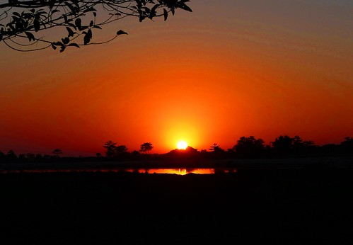 Sunset over the Worlds largest River Island - Majuli