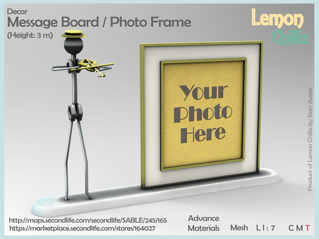 """Message Board Photo Frame"" by Lemon Chilliz MadPea Premium Alliance ""The Lonely Hearts Club"" Hunt - TeleportHub.com Live!"