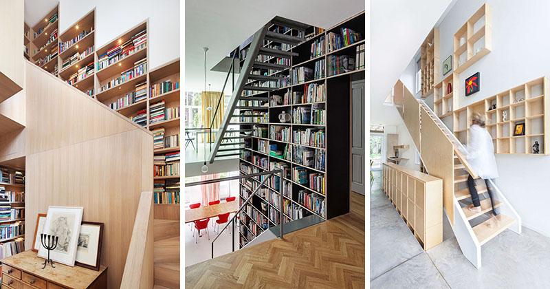 12 Contoh Desain Tangga Dengan Rak Buku