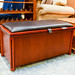 Cherry and leather top open blanket box E80