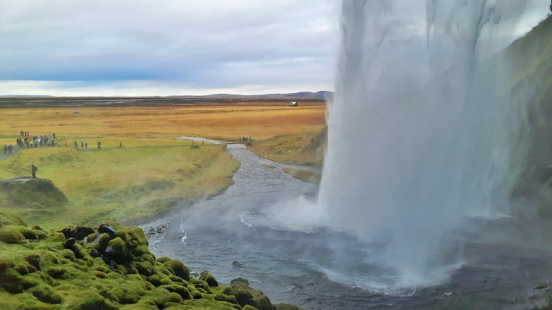 the view from behind Seljalandsfoss Waterfall, South Coast Iceland