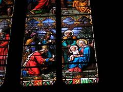 20080516 23606 0906 Jakobus Montbrison Kirche Fenster Könige Maria Josef