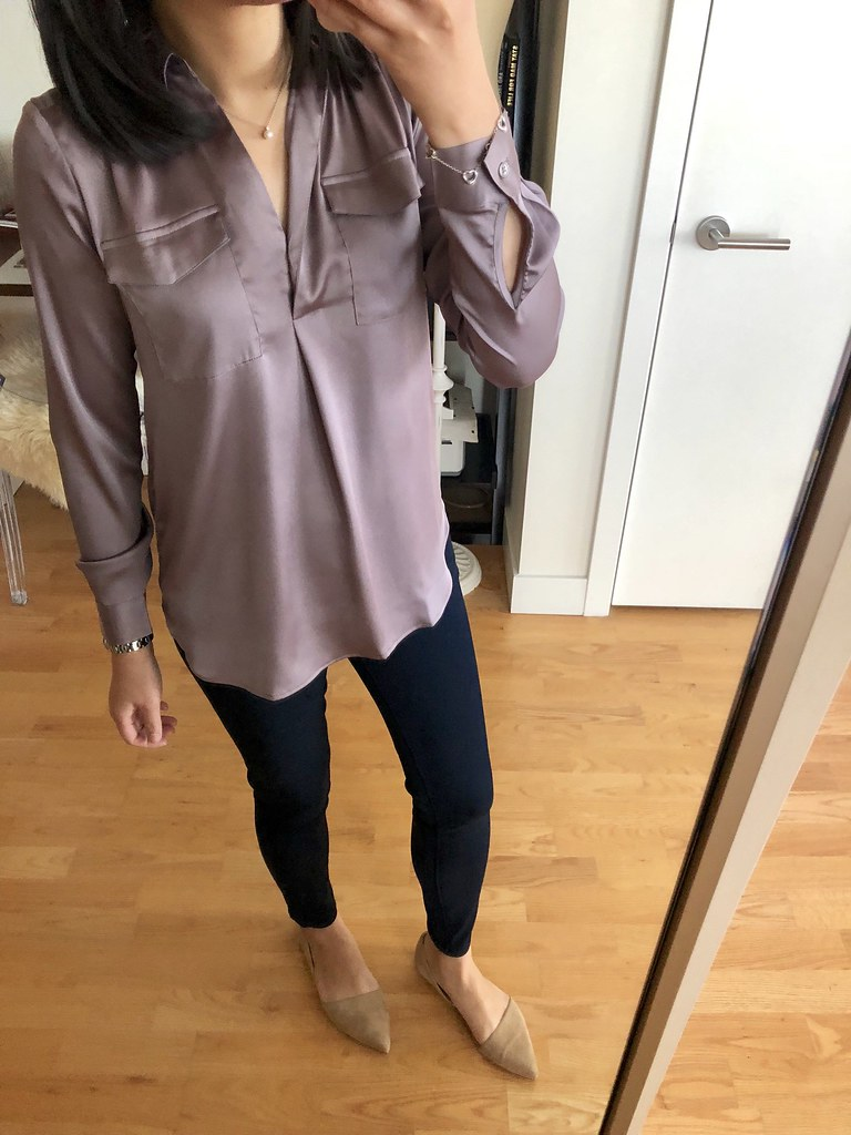 Ann Taylor Camp Shirt in delicate mauve, size XXSP