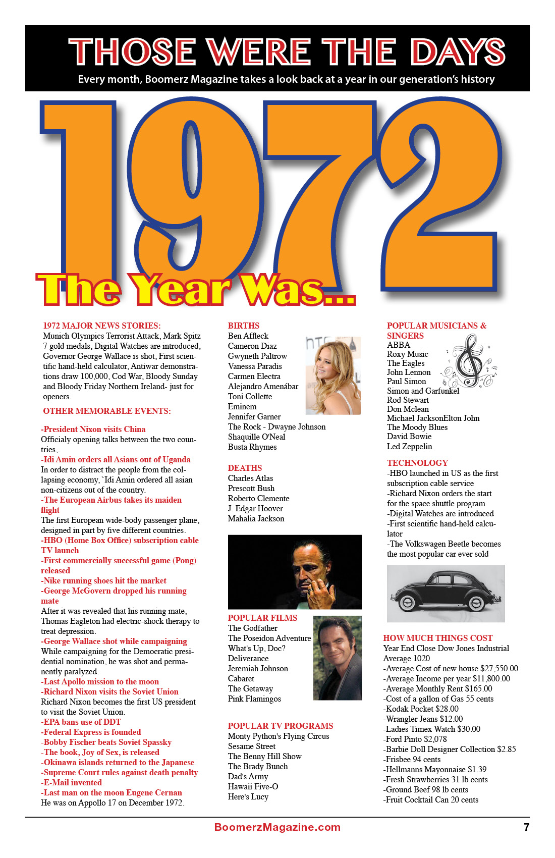 2018 October Boomerz Magazine Page 7 Those Were The Days The year was 1972