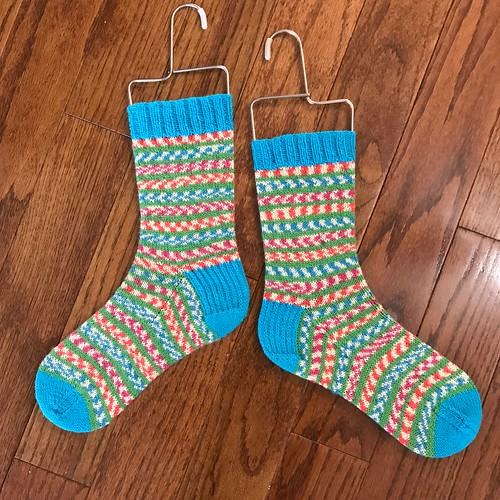 Hot off my needles are my Fairy Lights socks! I love the fun colours so am looking forward to knitting with the leftover yarn!