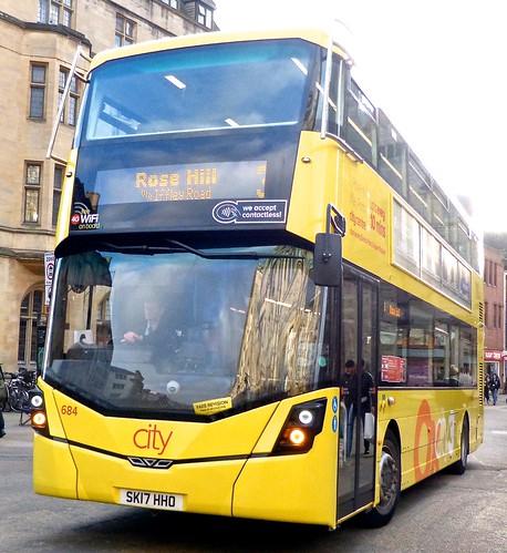 SK17 HHO 'Oxford Bus Company' No. 684 'Oxcity 3'. Wright Streetdeck /1 on Dennis Basford's railsroadsrunways.blogspot.co.uk'