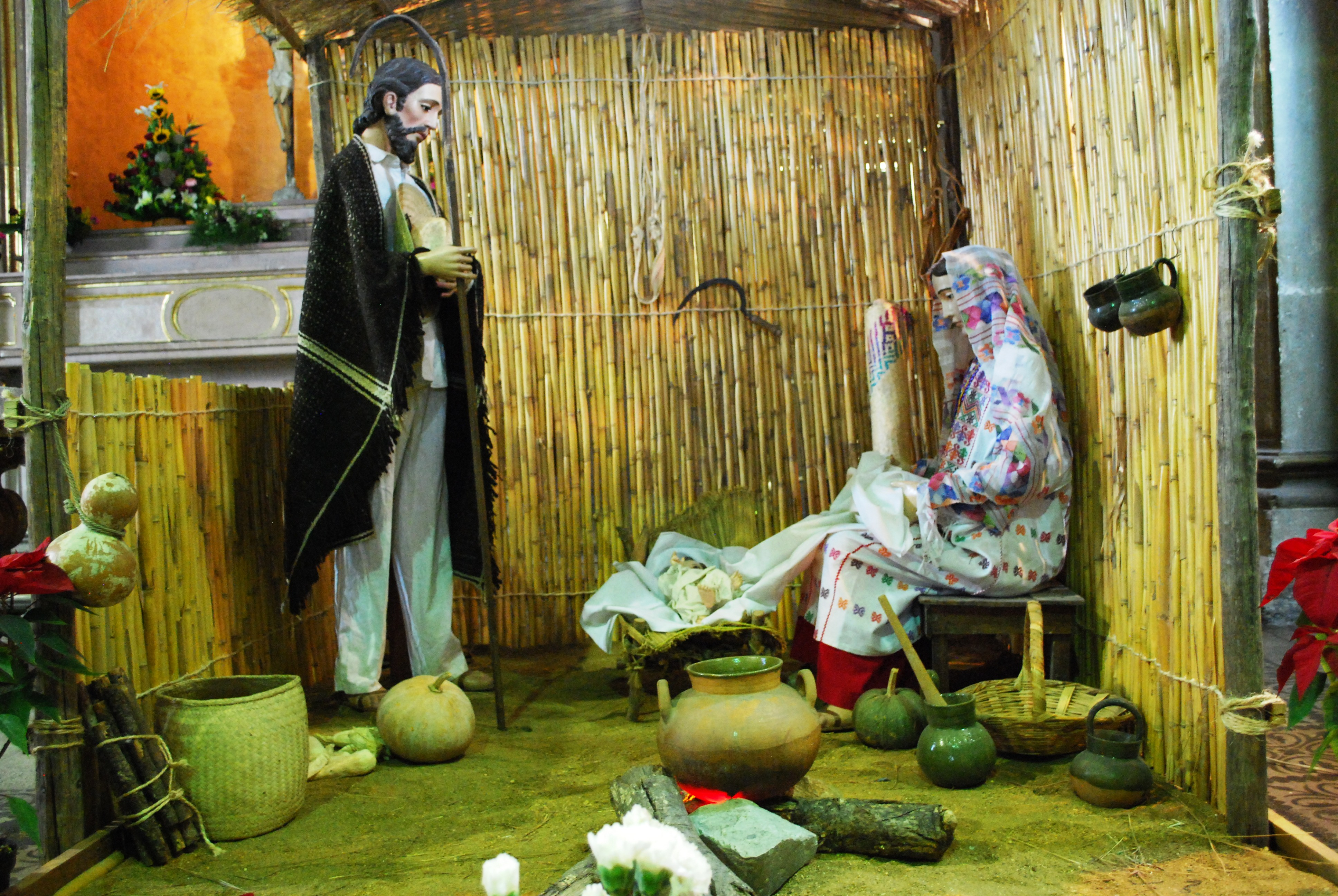 Part of a nativity scene from the Church of the Company of Jesus in the city of Oaxaca. Joseph and Mary are dressed in Oaxacan costume. Photo taken on December 25, 2009.