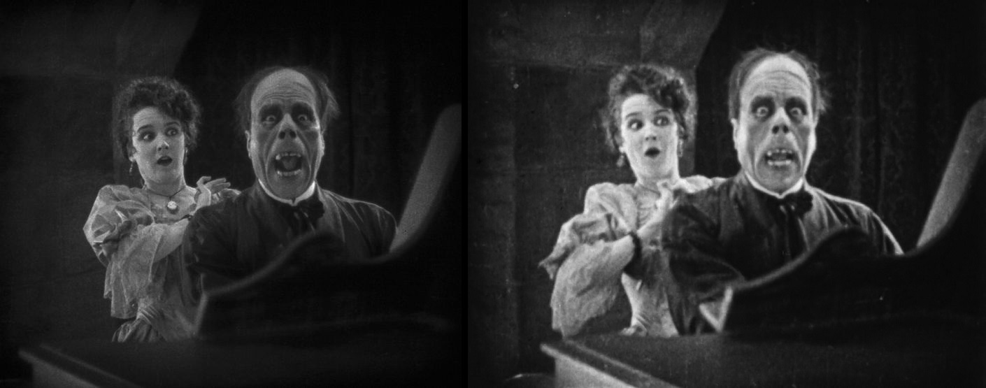 The famous unmasking scene from The Phantom of the Opera (Universal, 1925) with Lon Chaney and Mary Philbin. Image is a composite of 2 frames from different prints of the film, both of which are public domain. The unmasking scene which was said to have made theater patrons scream and faint in 1925. The Eastman House version is on the left, the original 1925 version on the right.