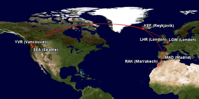 Iceland, Spain & Morocco via IcelandAir Business Cl ... on airports map, airlines map, interjet route map, internet traffic map, transit world map, air service map, rail map, aeroflot route map, shipping map, china route map, afghanistan map, airasia route map, asia map, egyptair route map, westjet route map, cathay pacific route map, roads map, air products map, air route to europe, adoption map,