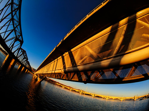 arizona tempe downtown river saltriver water bridges sunset light sky reflection distortion fisheye phone pixel2xl moment
