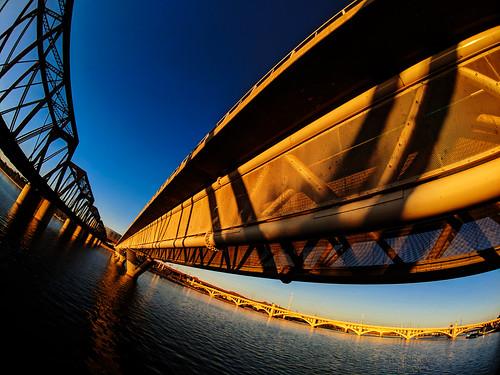 arizona tempe downtown river saltriver water bridges sunset light sky reflection distortion fisheye phone pixel2xl moment