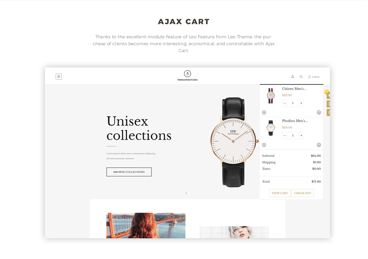 Ajax cart feature for Hand watch online store