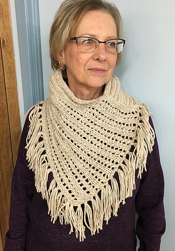 Natalie's warm and cozy Arika Cowl knit with one skein of Hikoo Kenzington