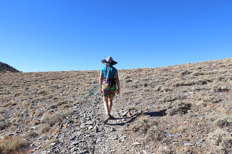 Vicki approaches the ridgeline on the Telescope Peak Trail