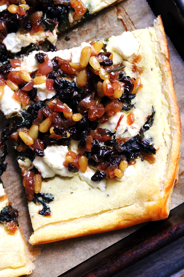 Swiss Chard and Goat Cheese Tart with a Currant-Pine Nut Relish