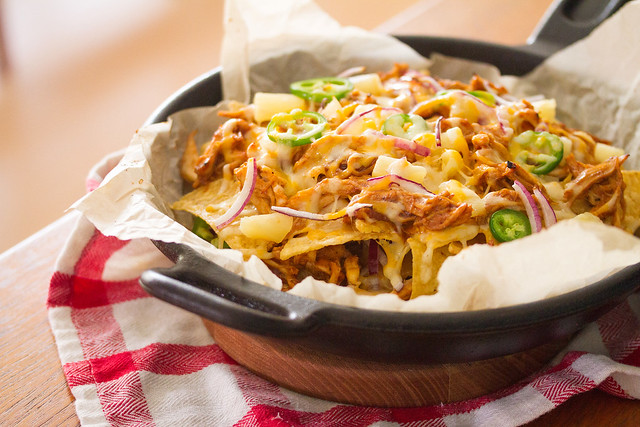 Hawaiian Barbecue Chicken Skillet Nachos