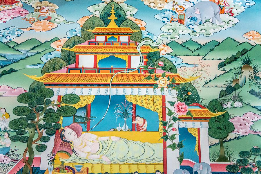 Фрески событий из жизни Будды. Центральный зал монастыря Пьянг