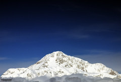 """Mount McKinley or Denali (""""The Great One"""") in Alaska is the highest mountain peak in North America, at a height of approximately 20,320 feet above sea level. Original image from Carol M. Highsmith's America, Library of Congress collection. Digitally enhan"""