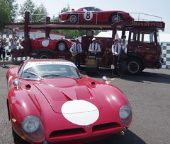 1966 Bizzarrini GT 5300 and a 1967 Bizzarrini P538 on the lower back of the transporter