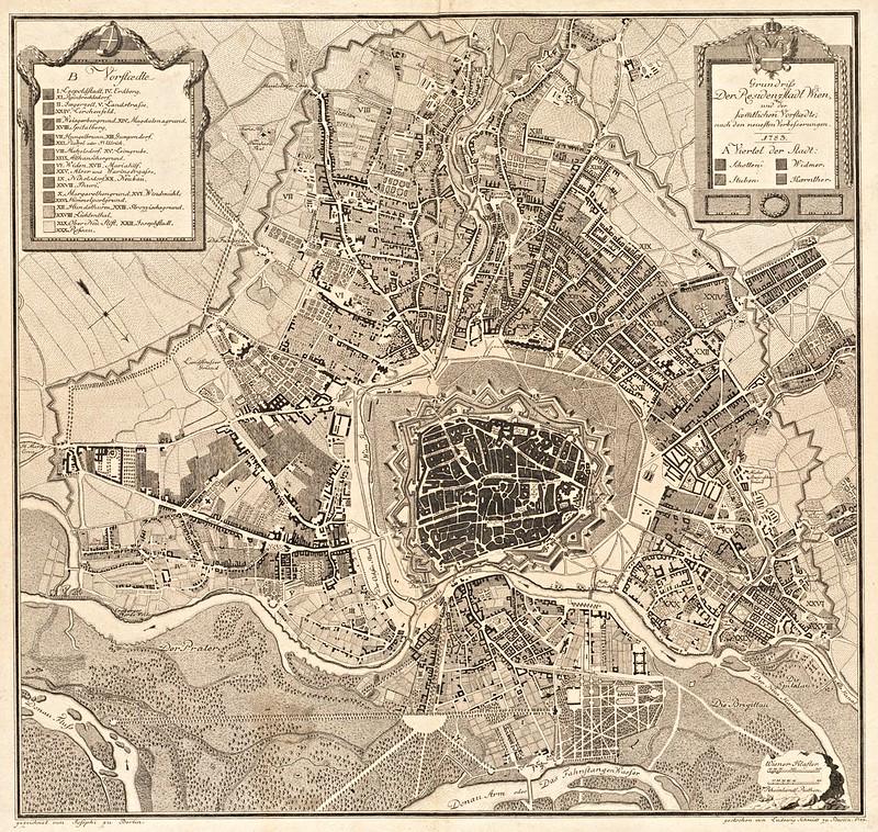 Grundriss der residenzstadt Wien, und der seamtlichen vorstaedte  nach den neuesten verbesserungen (1783)