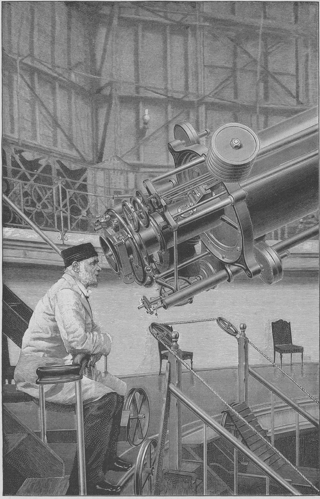 Отто Вильгельм фон Струве у окуляра Большого телескопа в Пулковской обсерватории. 1880