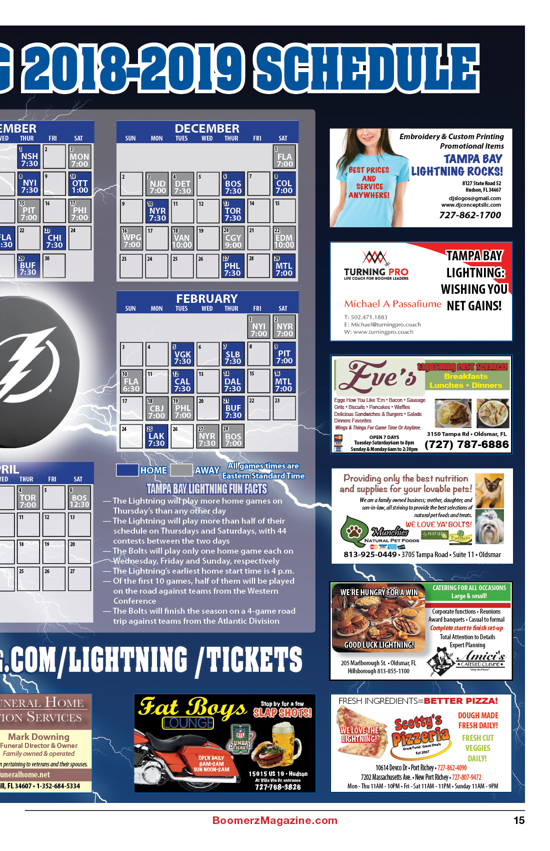2018 October Boomerz Magazine Page 15 Tampa Bay Lighting Schedule