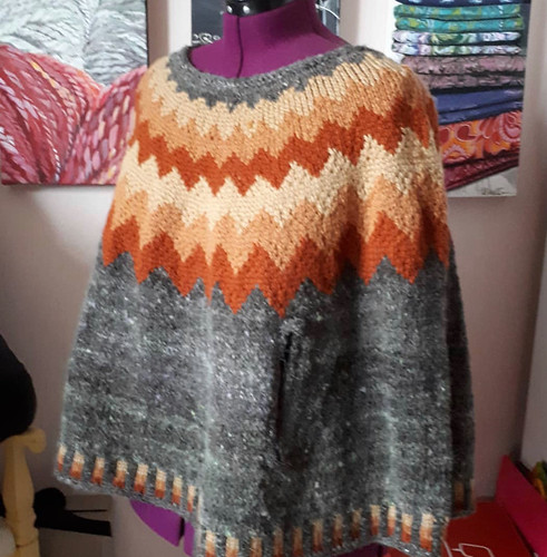 Paulette's poncho knit in quick knit chunky weight merino and handspuns