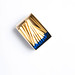 Top view of pack of blue matches on white background
