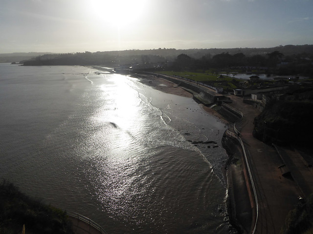 low midwinter sun over Goodrington Sands