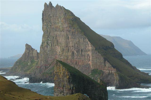Tindhólmur, Faroe Islands, as seen from the south-east. Photo taken by Erik Christensen, Porkeri, on October 9, 2005.