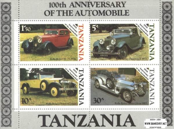 Známky Tanzánia 1986 Automobily, nerazený hárok
