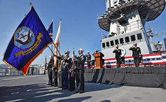 YOKOSUKA, Japan (Nov 16, 2018) The official party stands and renders a hand salute as colors are paraded during the USS Blue Ridge (LCC 19) Change of Command ceremony held at Commander, Fleet Activities Yokosuka. Blue Ridge is the oldest operational ship in the Navy, and as 7th Fleet command ship, is responsible for patrolling and fostering relationships within the Indo-Asia Pacific Region. (U.S. Navy photo by Mass Communication Specialist 2nd Class Adam K. Thomas/RELEASED)