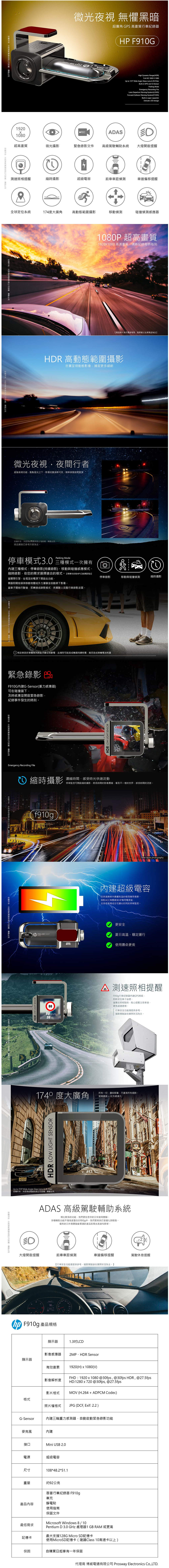 【HP 惠普】HP F910g 超廣角GPS高畫質行車紀錄器 星光夜視 HDR GPS 超廣角 -momo購物網