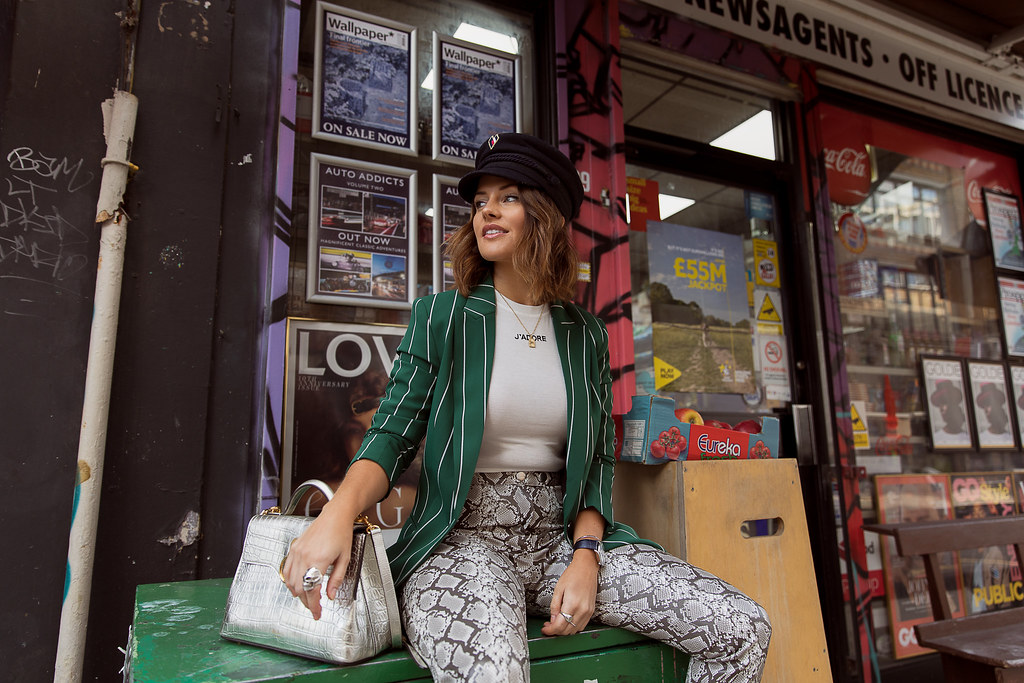 The Little Magpie H&M Autumn Winter 2018 Snakeprint trousers street style