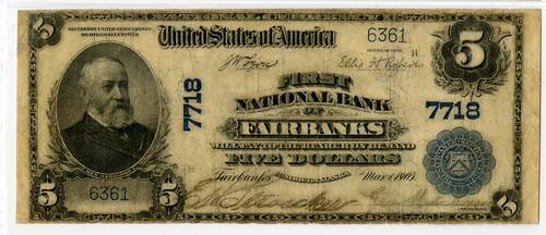 Lot 173. Alaska. First National Bank of Fairbanks, 1902, $5 PB. Est.$12,500-$17,500