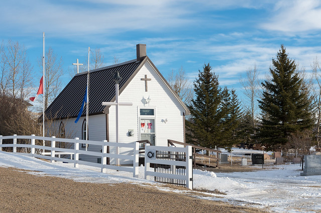 The tiny church of St. Margaret's is located at Eagle Butte in Medicine Lodge Coulee at the west end of the Cypress Hills, Alberta.