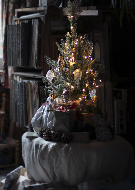 Our wee little Christmas tree with Czech glass baubles