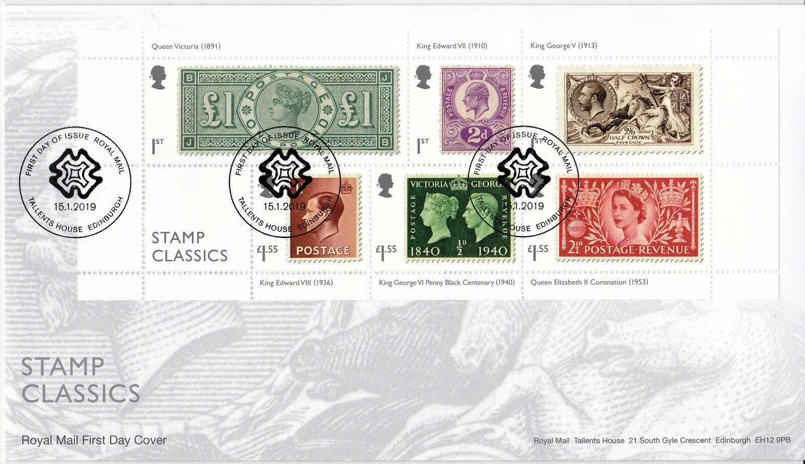 Great Britain - Stamp Classics (January 15, 2019) first day cover - Edinburgh