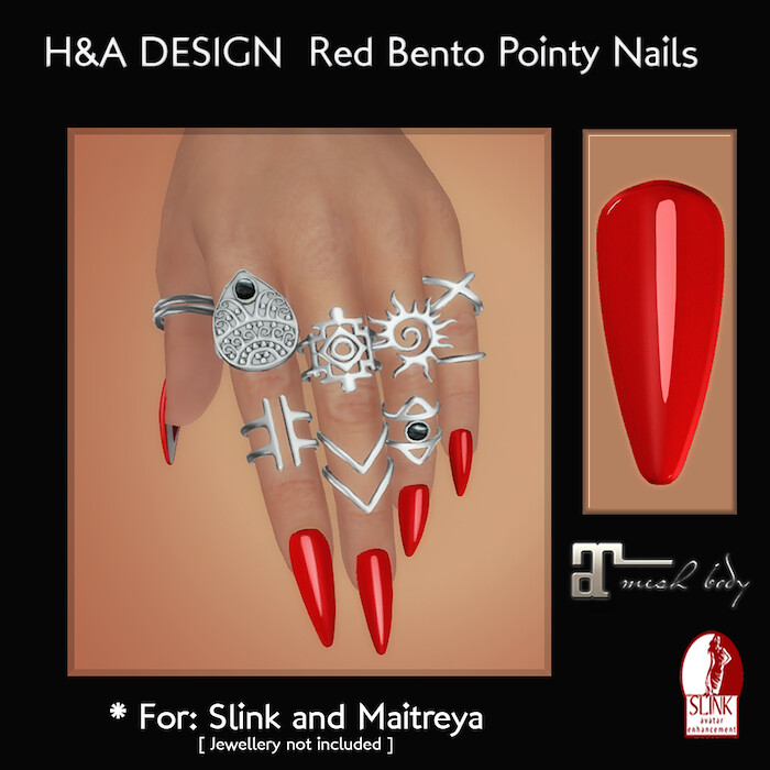 [H&A Designs] - Red Bento Pointy Nails - TeleportHub.com Live!