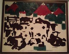 Compositie met koeien en rode daken, Tjerk Bottema (1920-1930)
