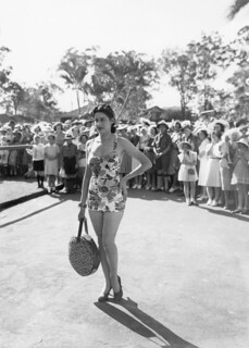 Swimsuit model at the Red Cross Fete held in the grounds of Government House, Brisbane, 1940